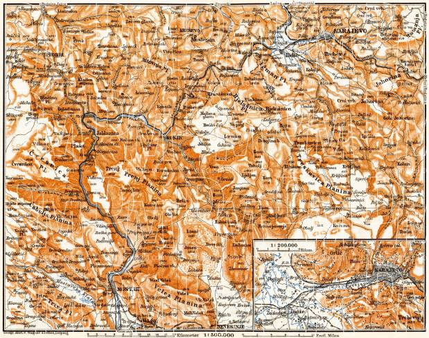 Bosnian Highlands from Sarajevo to Mostar. Environs of Sarajevo, 1911. Use the zooming tool to explore in higher level of detail. Obtain as a quality print or high resolution image