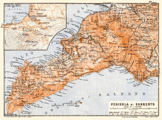 Sorrentine Peninsula map, 1929. Use the zooming tool to explore in higher level of detail. Obtain as a quality print or high resolution image