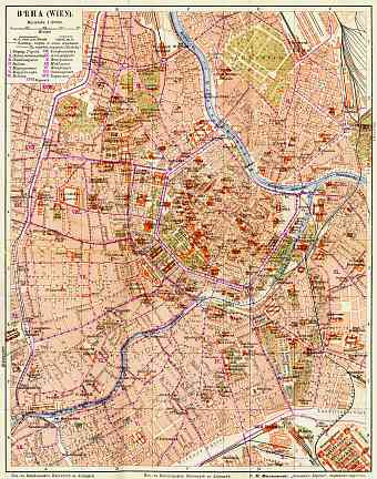 Vienna (Wien) city map with legend in Russian, 1903