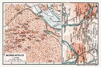 Minneapolis, city map. Map of the Environs of St.Paul and Minneapolis, 1909