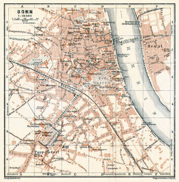 Bonn city map, 1906. Use the zooming tool to explore in higher level of detail. Obtain as a quality print or high resolution image
