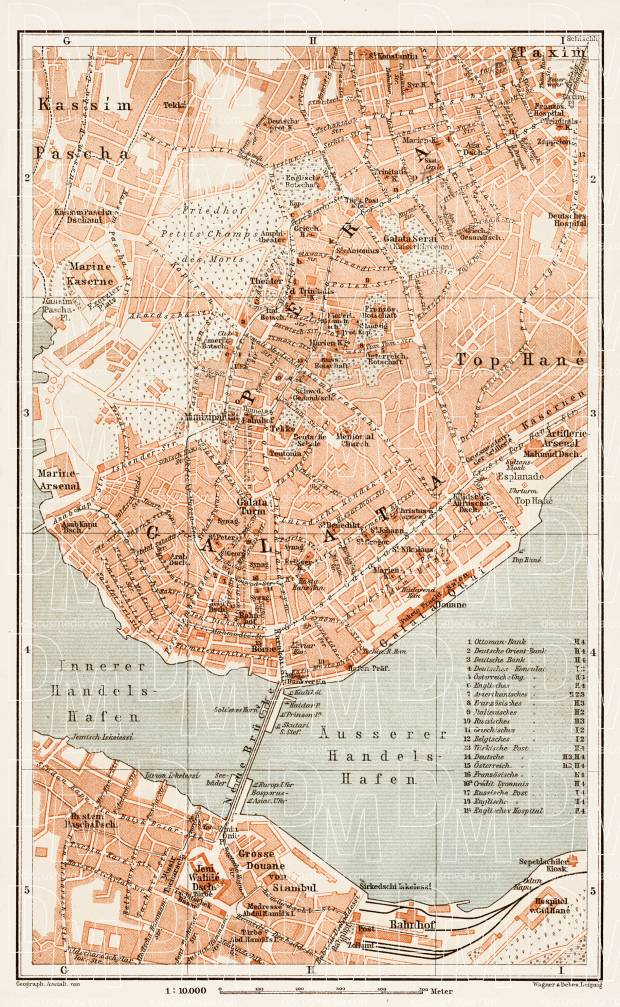 Old map of Constantionople (Istanbul) Center in 1914. Buy vintage ...