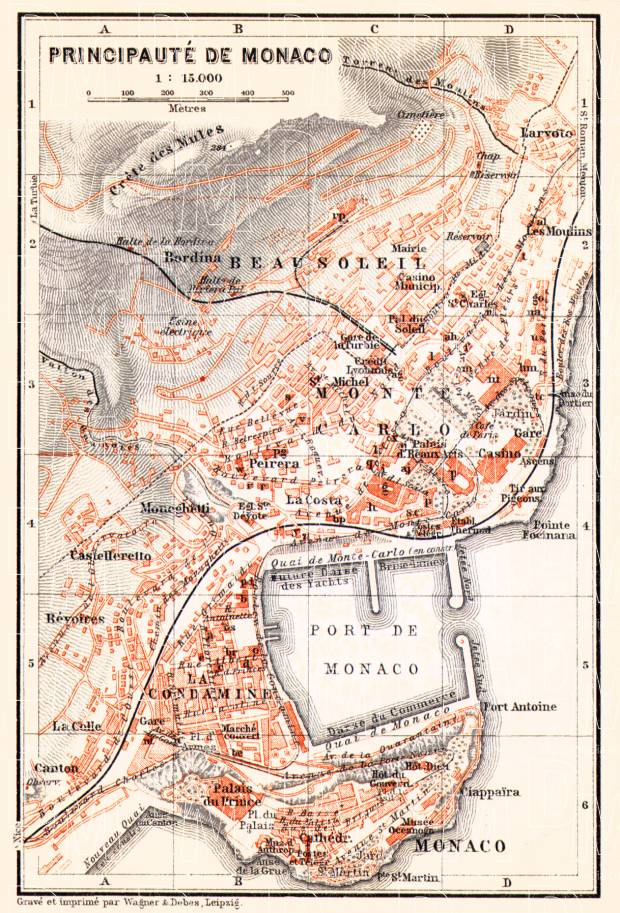 Old map of Monaco in 1913. Buy vintage map replica poster print or ...