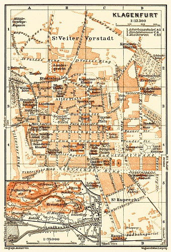 Klagenfurt and environs map, 1911