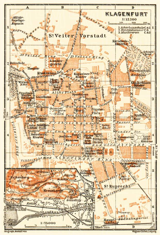 Klagenfurt and environs map, 1911. Use the zooming tool to explore in higher level of detail. Obtain as a quality print or high resolution image