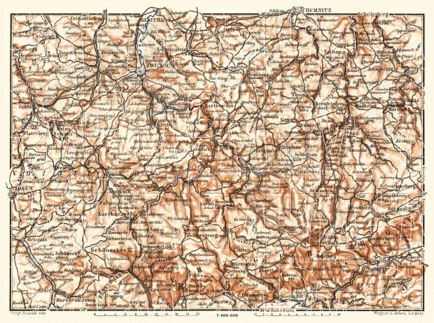 West Saxony from Plauen to Chemnitz, 1887. Use the zooming tool to explore in higher level of detail. Obtain as a quality print or high resolution image