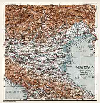 Alta Italia - North Italy map, 1908. Eastern part
