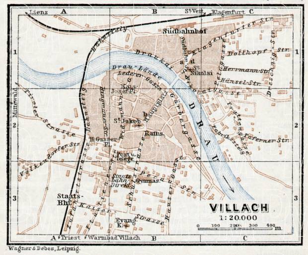 Villach town plan, 1910. Use the zooming tool to explore in higher level of detail. Obtain as a quality print or high resolution image