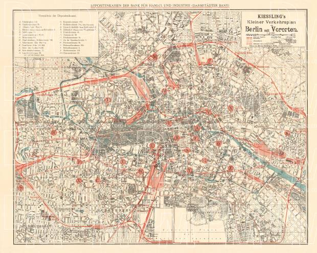 Berlin city map, 1909 (Kiessling´s Kleiner Verkehrsplan von Berlin mit Vororten). Use the zooming tool to explore in higher level of detail. Obtain as a quality print or high resolution image