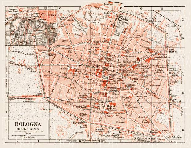 Old map of Bologna in 1903 Buy vintage map replica poster print or