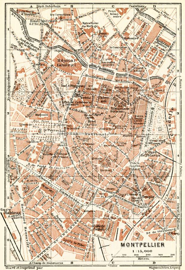 Montpellier Map Of France.Old Map Of Montpellier In 1913 Buy Vintage Map Replica Poster Print