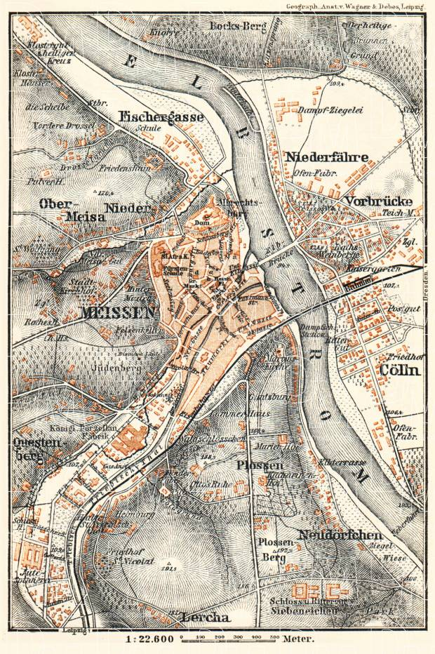 Meissen (Meißen) city map, 1887. Use the zooming tool to explore in higher level of detail. Obtain as a quality print or high resolution image
