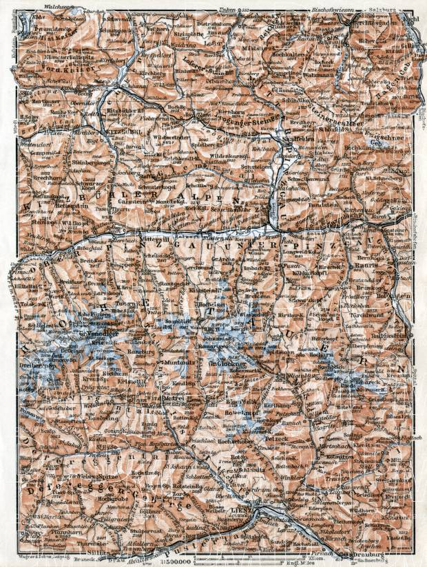 Kitzbühel (Kitzbühl) Alps and High Tatras region map, 1910. Use the zooming tool to explore in higher level of detail. Obtain as a quality print or high resolution image
