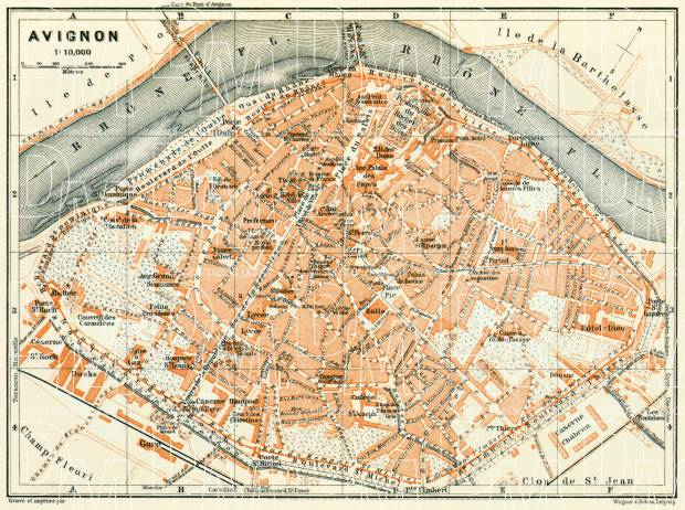 Avignon city map, 1913. Use the zooming tool to explore in higher level of detail. Obtain as a quality print or high resolution image