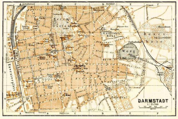 Darmstadt city map, 1908. Use the zooming tool to explore in higher level of detail. Obtain as a quality print or high resolution image