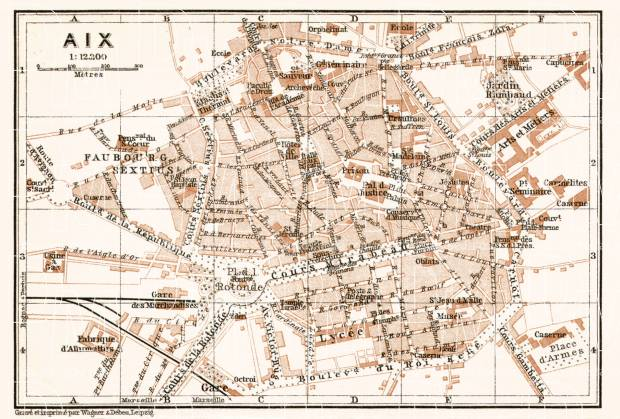 Aix (Bouches-du-Rhône) city map, 1902. Use the zooming tool to explore in higher level of detail. Obtain as a quality print or high resolution image