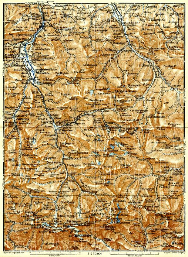 St. Sauveur, Barèges and Gavarnie map, 1886. Use the zooming tool to explore in higher level of detail. Obtain as a quality print or high resolution image