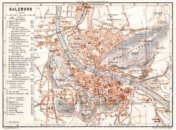 Old map of Salzburg in 1913 Buy vintage map replica poster print or