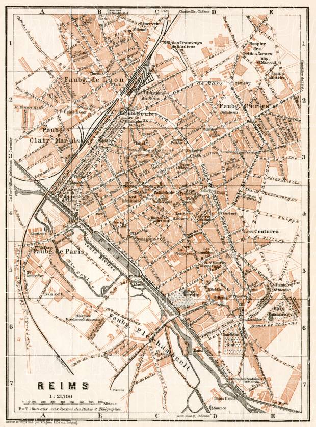 Old map of Reims in 1909. Buy vintage map replica poster print or ...