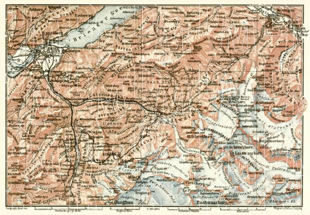 Grindelwald map, 1909. Use the zooming tool to explore in higher level of detail. Obtain as a quality print or high resolution image