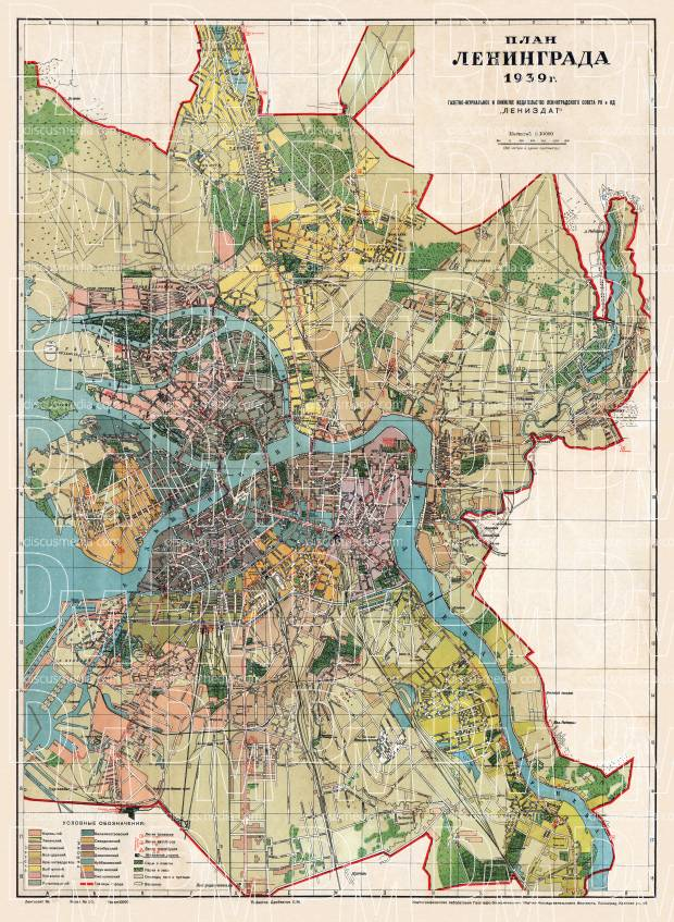 Leningrad (Ленинград, Saint Petersburg) city map, 1939. Use the zooming tool to explore in higher level of detail. Obtain as a quality print or high resolution image