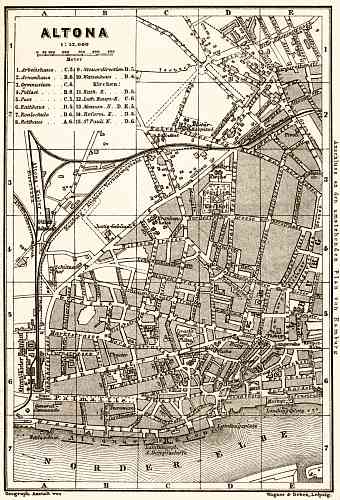 Altona (Hamburg) city map, 1887