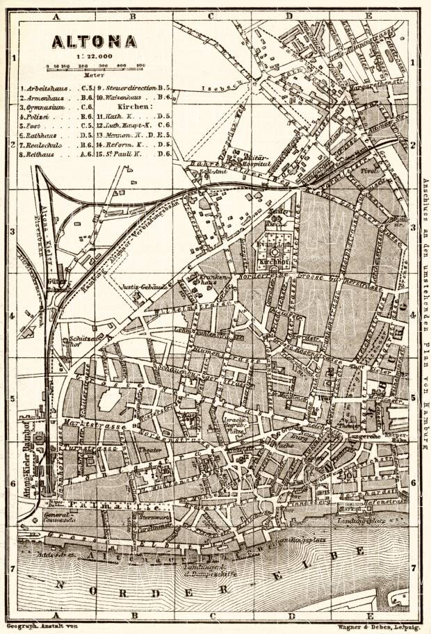 Altona (Hamburg) city map, 1887. Use the zooming tool to explore in higher level of detail. Obtain as a quality print or high resolution image