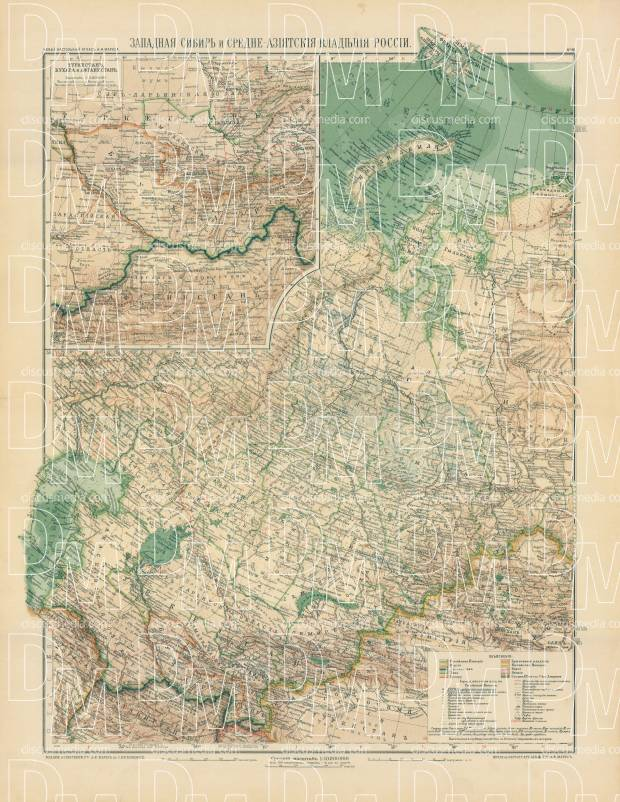West Siberia and the Central Asian Posessions of Russia Map, 1910. Use the zooming tool to explore in higher level of detail. Obtain as a quality print or high resolution image