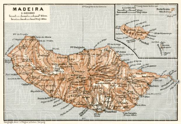 Madeira island map, 1911. Use the zooming tool to explore in higher level of detail. Obtain as a quality print or high resolution image