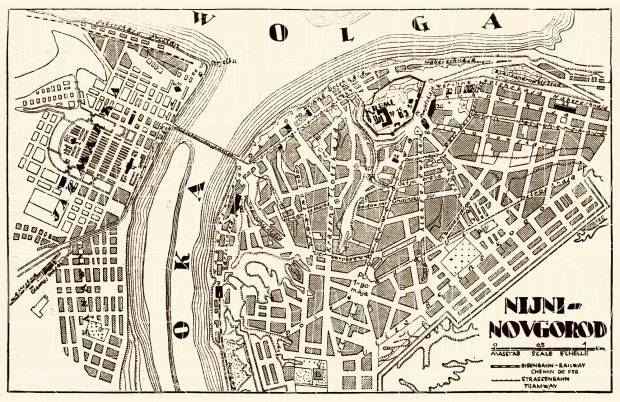 Nizhny Novgorod (Нижний Новгород) city map, 1928. Use the zooming tool to explore in higher level of detail. Obtain as a quality print or high resolution image