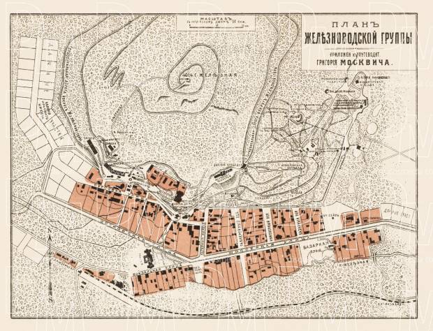 Zheleznovodsk (Желѣзноводскъ) town plan, 1912. Use the zooming tool to explore in higher level of detail. Obtain as a quality print or high resolution image