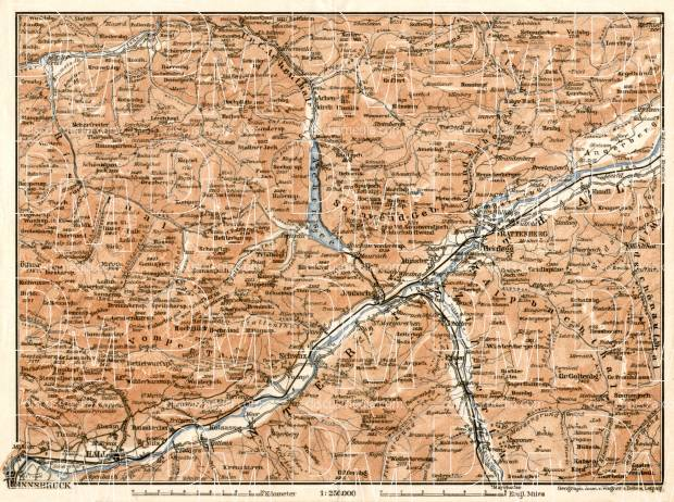 Map of the Achensee Lake and Inn River valley from Innsbruck to Kufstein, 1906. Use the zooming tool to explore in higher level of detail. Obtain as a quality print or high resolution image
