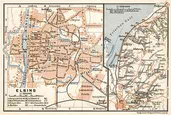 Elblag (Elbing) city map, 1911. Environs of Elblag