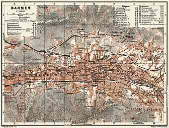Barmen (now part of Wuppertal) city map, 1905