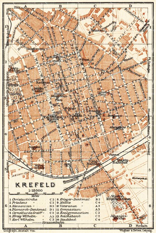 Krefeld city map, 1905. Use the zooming tool to explore in higher level of detail. Obtain as a quality print or high resolution image