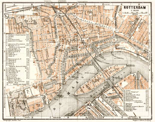 Old map of Rotterdam in 1909. Buy vintage map replica poster print ...