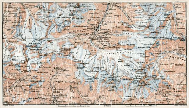 Zermatt district map, 1909. Use the zooming tool to explore in higher level of detail. Obtain as a quality print or high resolution image