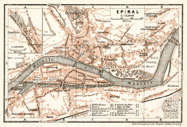 Épinal city map, 1909. Use the zooming tool to explore in higher level of detail. Obtain as a quality print or high resolution image