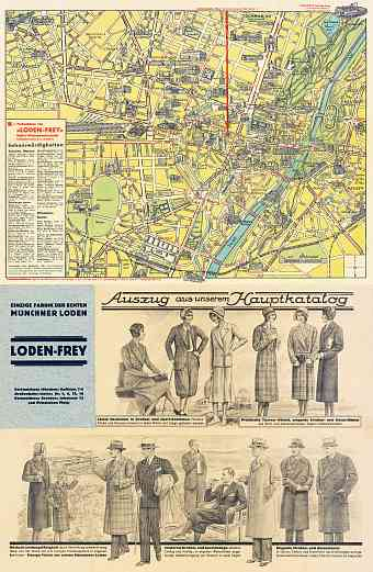 München (Munich) city map, early 1920s (includes fashion flyer)