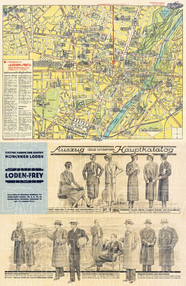 München (Munich) city map, early 1920s (includes fashion flyer). Use the zooming tool to explore in higher level of detail. Obtain as a quality print or high resolution image