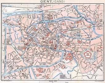 Ghent (Gent) city map, 1908