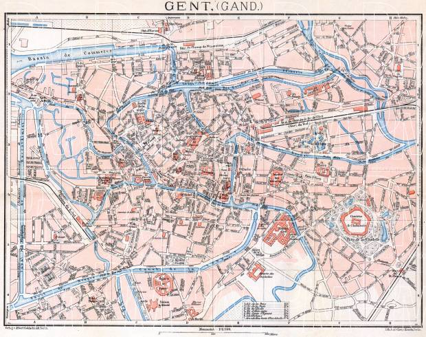 Ghent (Gent) city map, 1908. Use the zooming tool to explore in higher level of detail. Obtain as a quality print or high resolution image