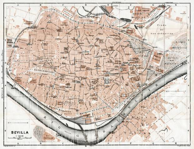 Old map of Seville Sevilla in 1913 Buy vintage map replica poster