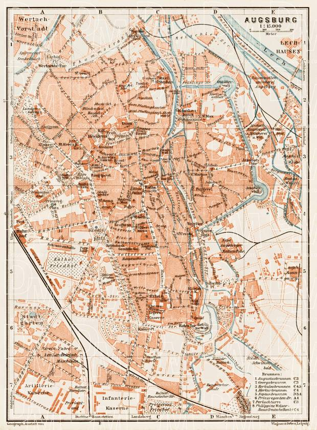 Old map of Augsburg in 1909 Buy vintage map replica poster print or