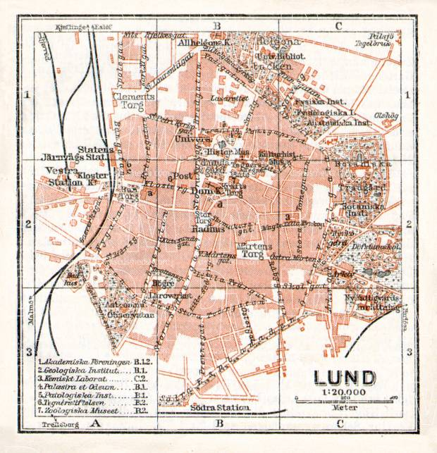 Lund city map, 1910. Use the zooming tool to explore in higher level of detail. Obtain as a quality print or high resolution image
