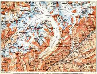 Aletsch Glacier and environs map, 1897