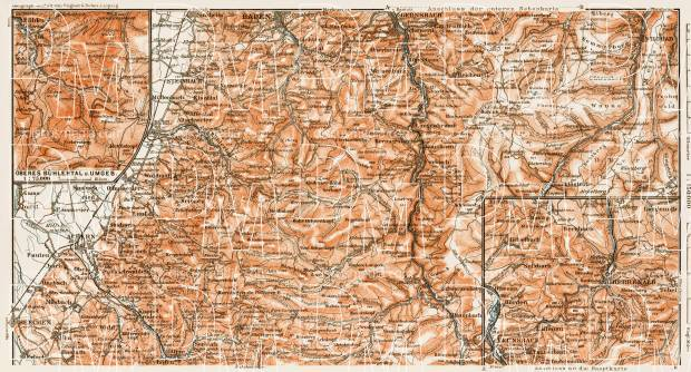 Schwarzwald (the Black Forest). The Murgtal region map with Bühlertal district map, 1909. Use the zooming tool to explore in higher level of detail. Obtain as a quality print or high resolution image