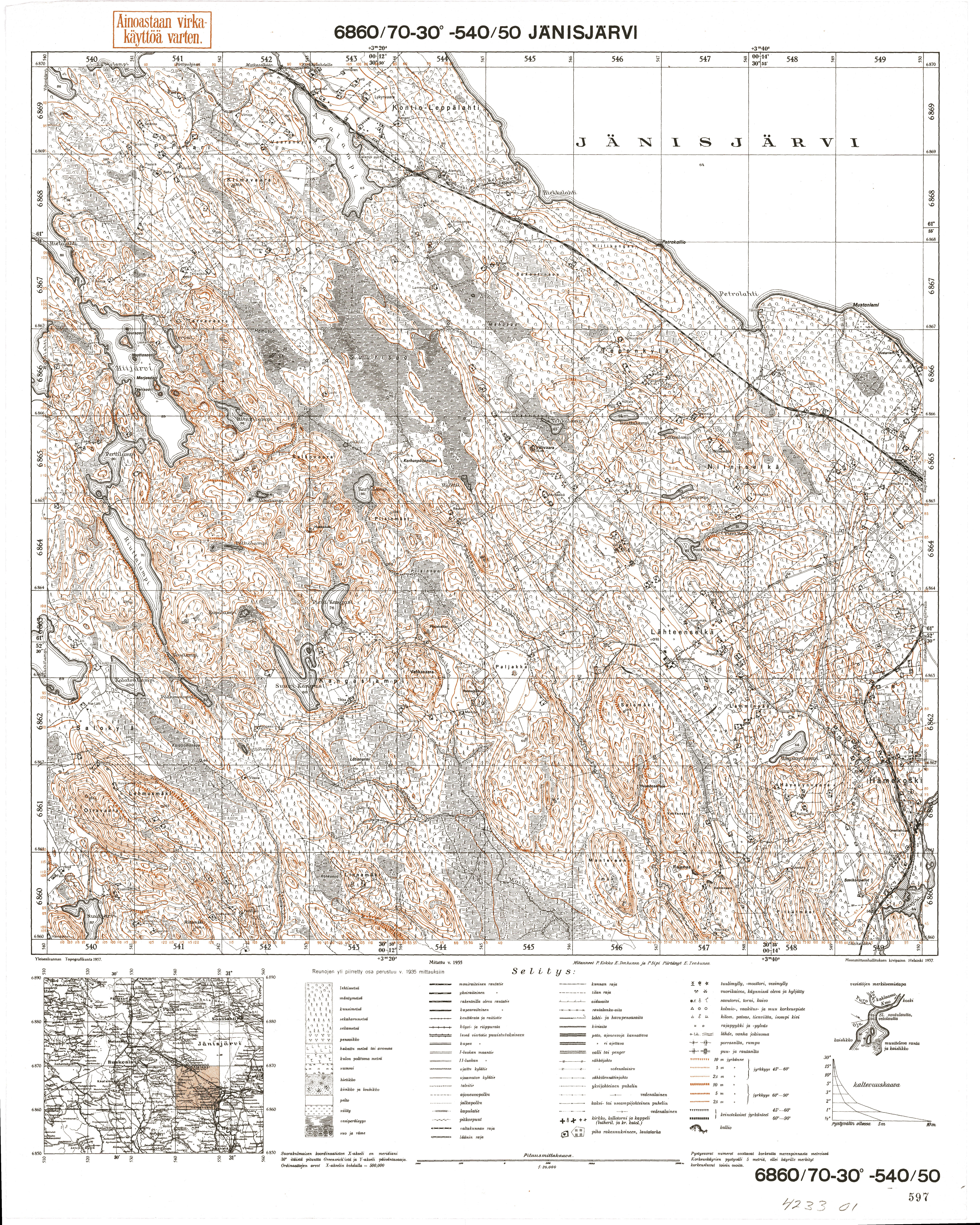 Janisjarvi Lake. Jänisjärvi. Topografikartta 423301. Topographic map from 1938