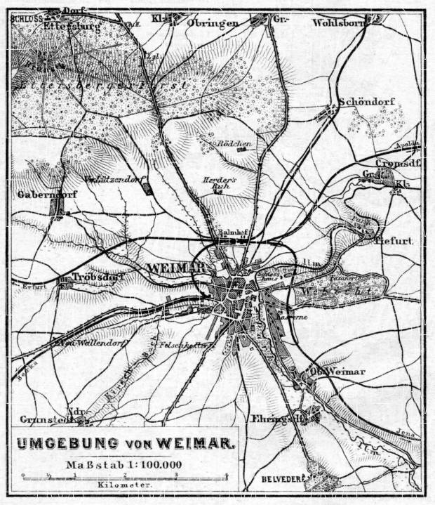 Weimar environs map, 1887. Use the zooming tool to explore in higher level of detail. Obtain as a quality print or high resolution image