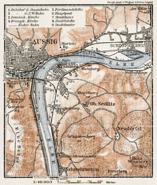 Aussig (Ústí nad Labem) and environs map, 1910. Use the zooming tool to explore in higher level of detail. Obtain as a quality print or high resolution image